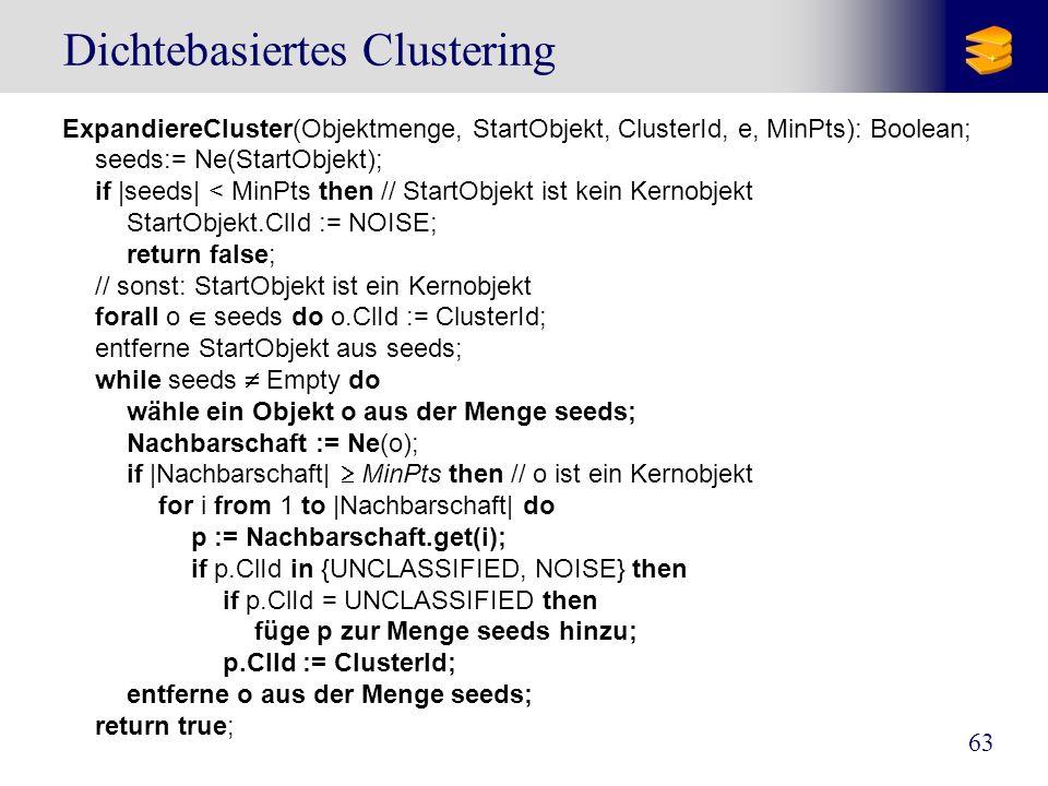 63 Dichtebasiertes Clustering ExpandiereCluster(Objektmenge, StartObjekt, ClusterId, e, MinPts): Boolean; seeds:= Ne(StartObjekt); if |seeds| < MinPts