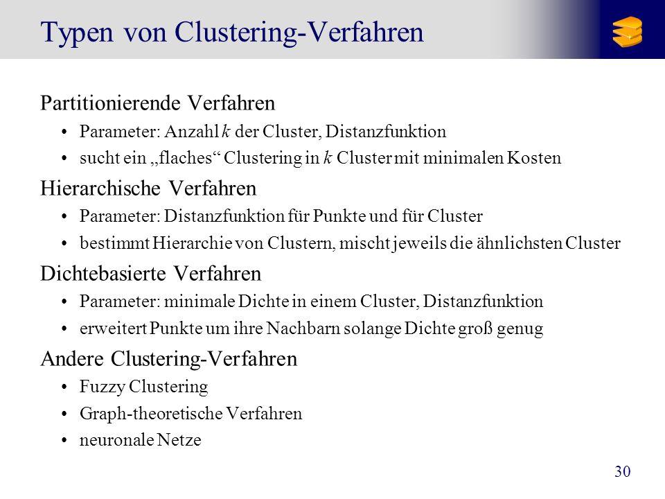 30 Typen von Clustering-Verfahren Partitionierende Verfahren Parameter: Anzahl k der Cluster, Distanzfunktion sucht ein flaches Clustering in k Cluste