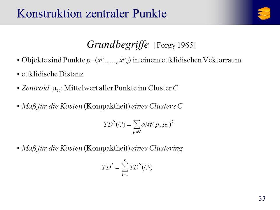 33 Konstruktion zentraler Punkte Grundbegriffe [Forgy 1965] Objekte sind Punkte p=(x p 1,..., x p d ) in einem euklidischen Vektorraum euklidische Dis