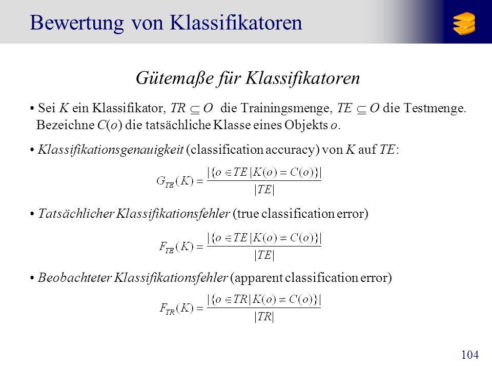 104 Bewertung von Klassifikatoren Gütemaße für Klassifikatoren Sei K ein Klassifikator, TR O die Trainingsmenge, TE O die Testmenge. Bezeichne C(o) di