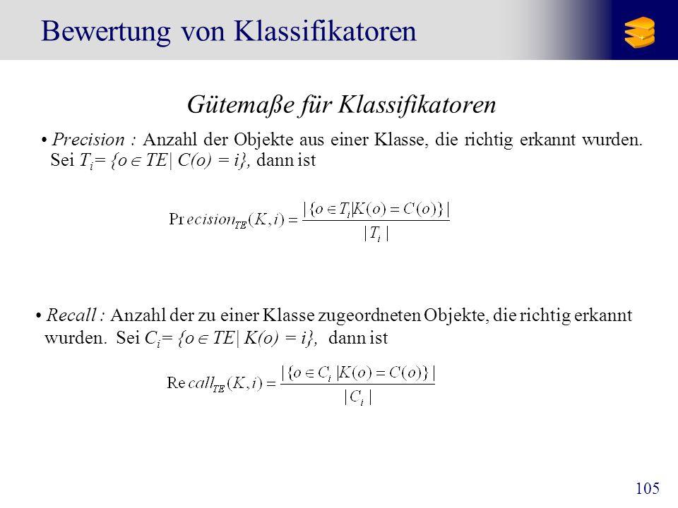 105 Bewertung von Klassifikatoren Gütemaße für Klassifikatoren Precision : Anzahl der Objekte aus einer Klasse, die richtig erkannt wurden. Sei T i =