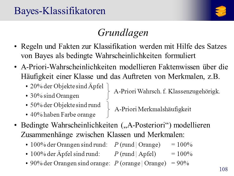 108 Bayes-Klassifikatoren Grundlagen Regeln und Fakten zur Klassifikation werden mit Hilfe des Satzes von Bayes als bedingte Wahrscheinlichkeiten form