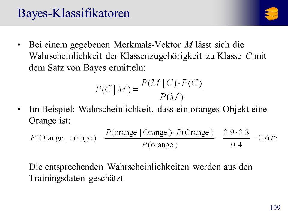 109 Bayes-Klassifikatoren Bei einem gegebenen Merkmals-Vektor M lässt sich die Wahrscheinlichkeit der Klassenzugehörigkeit zu Klasse C mit dem Satz vo