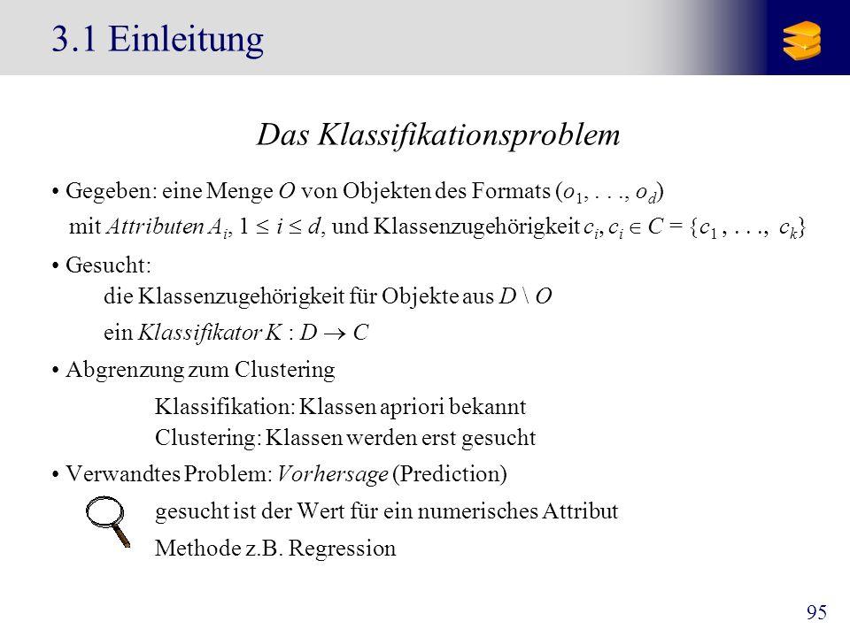 95 3.1 Einleitung Das Klassifikationsproblem Gegeben: eine Menge O von Objekten des Formats (o 1,..., o d ) mit Attributen A i, 1 i d, und Klassenzuge