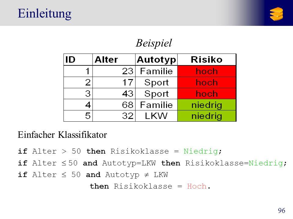 97 Der Prozess der Klassifikation Konstruktion des Modells Trainings- daten Klassifikations- Algorithmus if rank = professor or years > 6 then tenured = yes Klassifikator