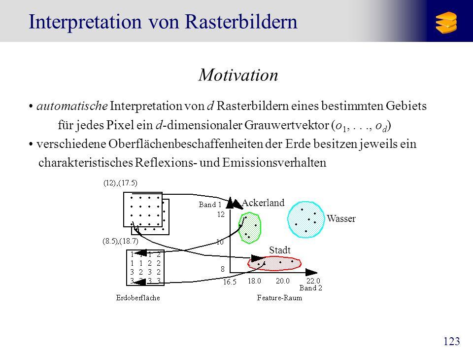 123 Interpretation von Rasterbildern Motivation automatische Interpretation von d Rasterbildern eines bestimmten Gebiets für jedes Pixel ein d-dimensi