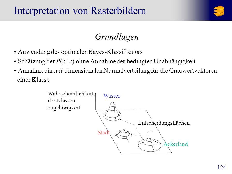 124 Interpretation von Rasterbildern Grundlagen Anwendung des optimalen Bayes-Klassifikators Schätzung der P(o   c) ohne Annahme der bedingten Unabhän