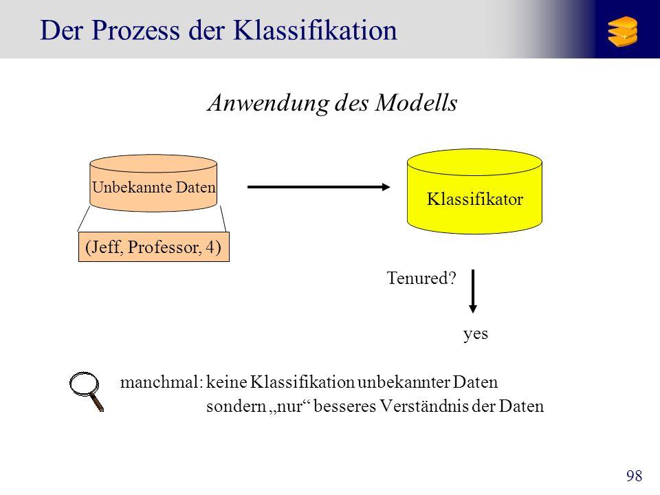 98 Der Prozess der Klassifikation Anwendung des Modells manchmal: keine Klassifikation unbekannter Daten sondern nur besseres Verständnis der Daten Kl