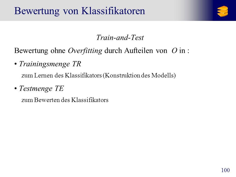 100 Bewertung von Klassifikatoren Train-and-Test Bewertung ohne Overfitting durch Aufteilen von O in : Trainingsmenge TR zum Lernen des Klassifikators