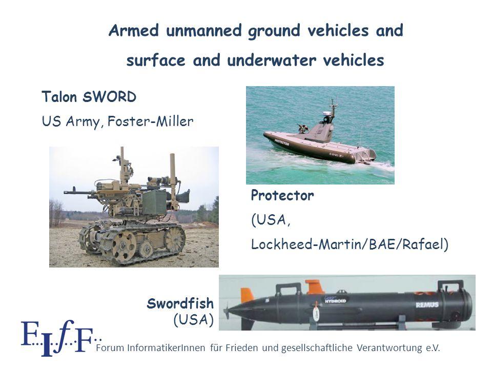 Forum InformatikerInnen für Frieden und gesellschaftliche Verantwortung e.V. Predator (length 8 m) 2 Hellfire missiles (US Air Force) Reaper (length 1
