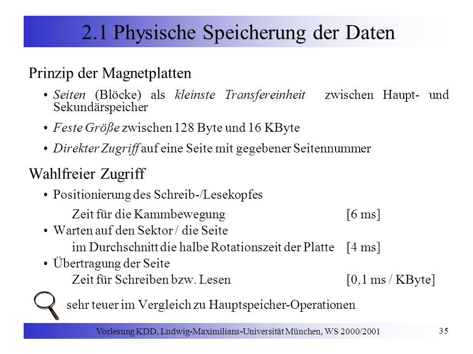 Vorlesung KDD, Ludwig-Maximilians-Universität München, WS 2000/2001 35 2.1 Physische Speicherung der Daten Prinzip der Magnetplatten Seiten (Blöcke) als kleinste Transfereinheit zwischen Haupt- und Sekundärspeicher Feste Größe zwischen 128 Byte und 16 KByte Direkter Zugriff auf eine Seite mit gegebener Seitennummer Wahlfreier Zugriff Positionierung des Schreib-/Lesekopfes Zeit für die Kammbewegung [6 ms] Warten auf den Sektor / die Seite im Durchschnitt die halbe Rotationszeit der Platte [4 ms] Übertragung der Seite Zeit für Schreiben bzw.