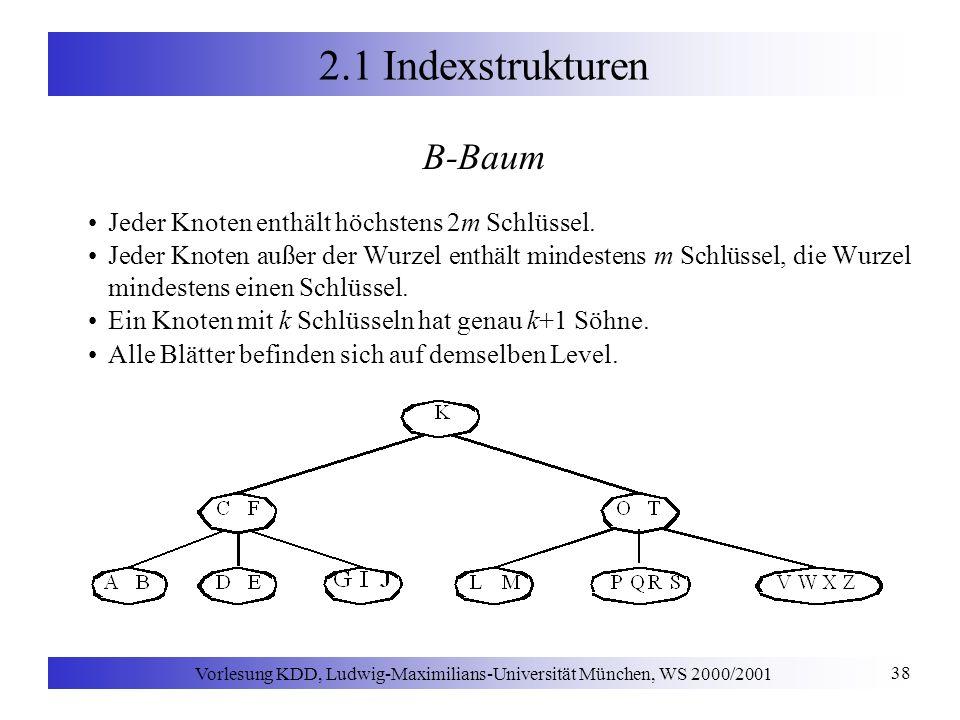 Vorlesung KDD, Ludwig-Maximilians-Universität München, WS 2000/2001 38 2.1 Indexstrukturen B-Baum Jeder Knoten enthält höchstens 2m Schlüssel.