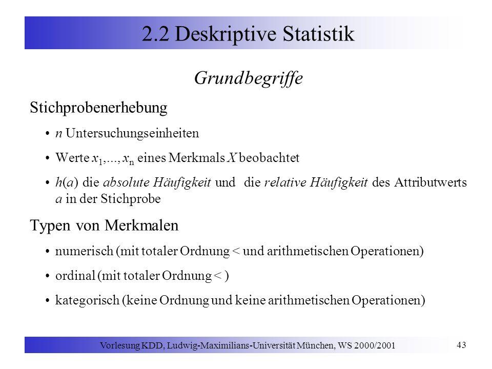 Vorlesung KDD, Ludwig-Maximilians-Universität München, WS 2000/2001 43 2.2 Deskriptive Statistik Grundbegriffe Stichprobenerhebung n Untersuchungseinh