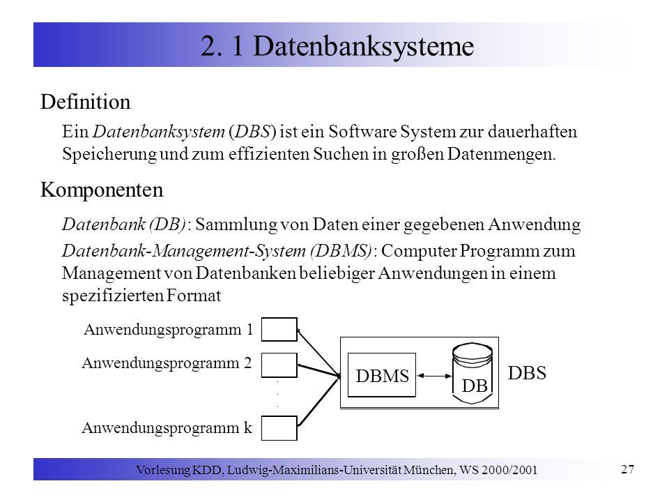 Vorlesung KDD, Ludwig-Maximilians-Universität München, WS 2000/2001 27 2. 1 Datenbanksysteme Definition Ein Datenbanksystem (DBS) ist ein Software Sys