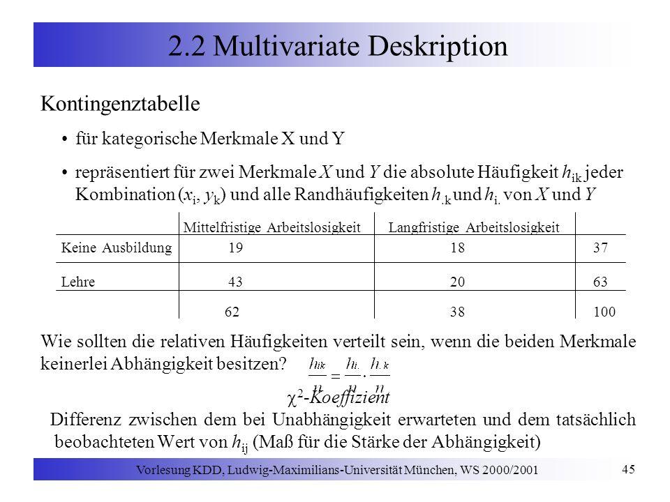 Vorlesung KDD, Ludwig-Maximilians-Universität München, WS 2000/2001 45 2.2 Multivariate Deskription Kontingenztabelle für kategorische Merkmale X und Y repräsentiert für zwei Merkmale X und Y die absolute Häufigkeit h ik jeder Kombination (x i, y k ) und alle Randhäufigkeiten h.k und h i.