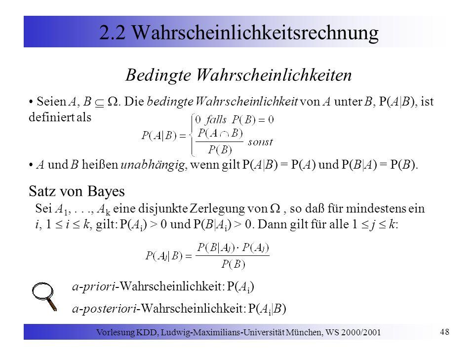 Vorlesung KDD, Ludwig-Maximilians-Universität München, WS 2000/2001 48 2.2 Wahrscheinlichkeitsrechnung Bedingte Wahrscheinlichkeiten Seien A, B.
