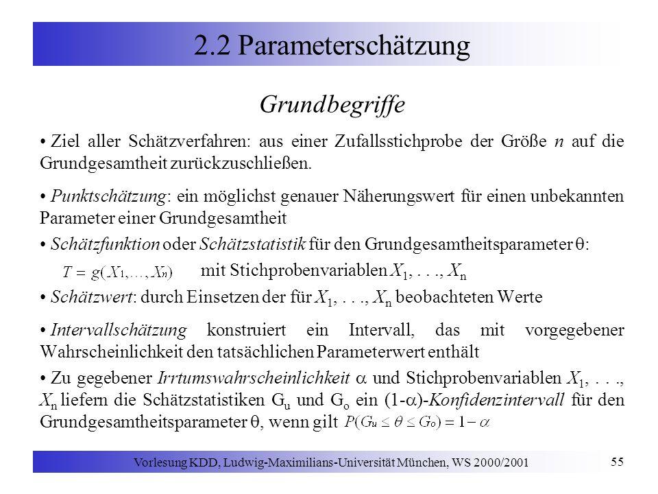 Vorlesung KDD, Ludwig-Maximilians-Universität München, WS 2000/2001 55 2.2 Parameterschätzung Grundbegriffe Ziel aller Schätzverfahren: aus einer Zufallsstichprobe der Größe n auf die Grundgesamtheit zurückzuschließen.