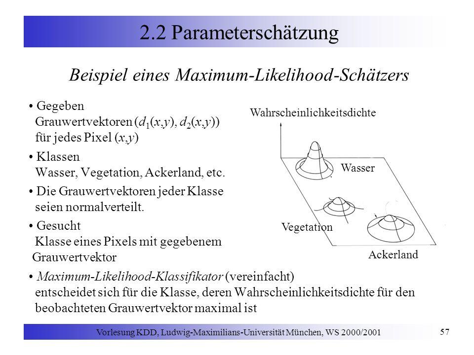 Vorlesung KDD, Ludwig-Maximilians-Universität München, WS 2000/2001 57 2.2 Parameterschätzung Beispiel eines Maximum-Likelihood-Schätzers Gegeben Grauwertvektoren (d 1 (x,y), d 2 (x,y)) für jedes Pixel (x,y) Klassen Wasser, Vegetation, Ackerland, etc.