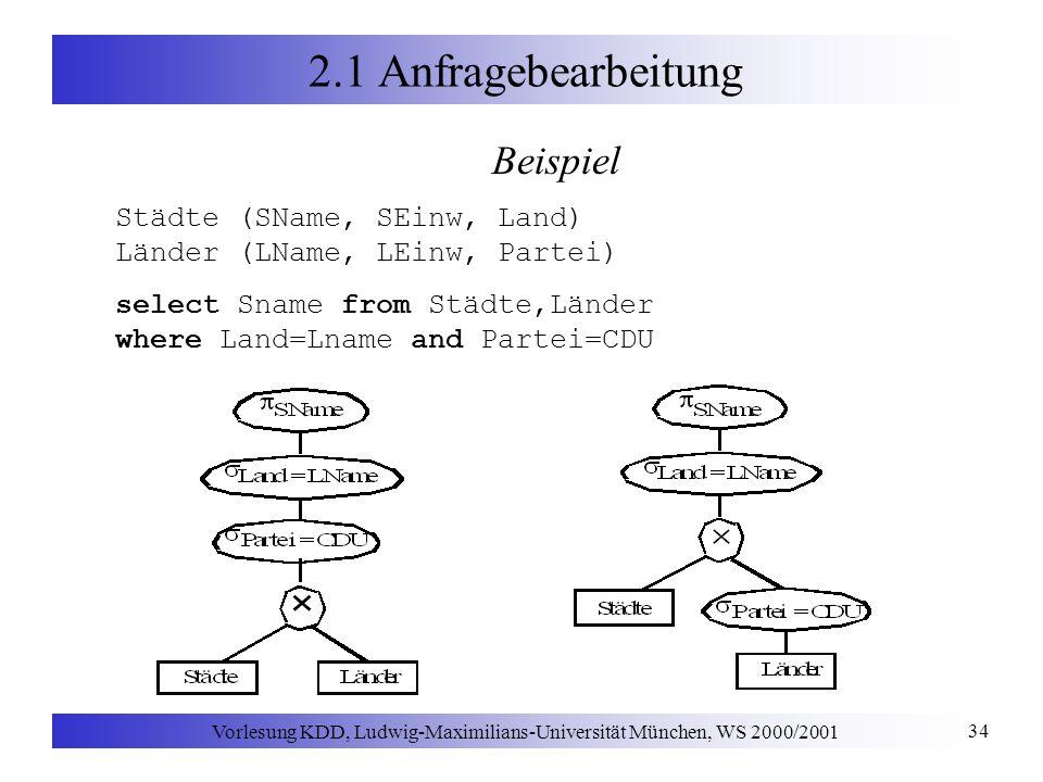 Vorlesung KDD, Ludwig-Maximilians-Universität München, WS 2000/2001 34 2.1 Anfragebearbeitung Beispiel Städte (SName, SEinw, Land) Länder (LName, LEin