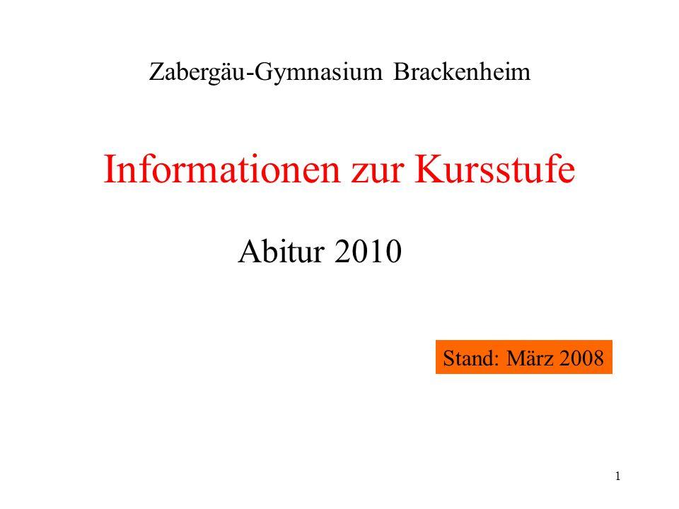 1 Informationen zur Kursstufe Zabergäu-Gymnasium Brackenheim Abitur 2010 Stand: März 2008