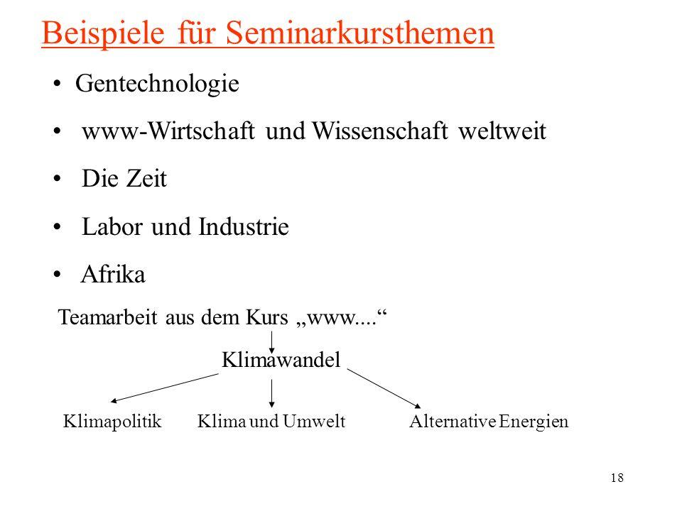 18 Beispiele für Seminarkursthemen Gentechnologie www-Wirtschaft und Wissenschaft weltweit Die Zeit Labor und Industrie Afrika Teamarbeit aus dem Kurs www....