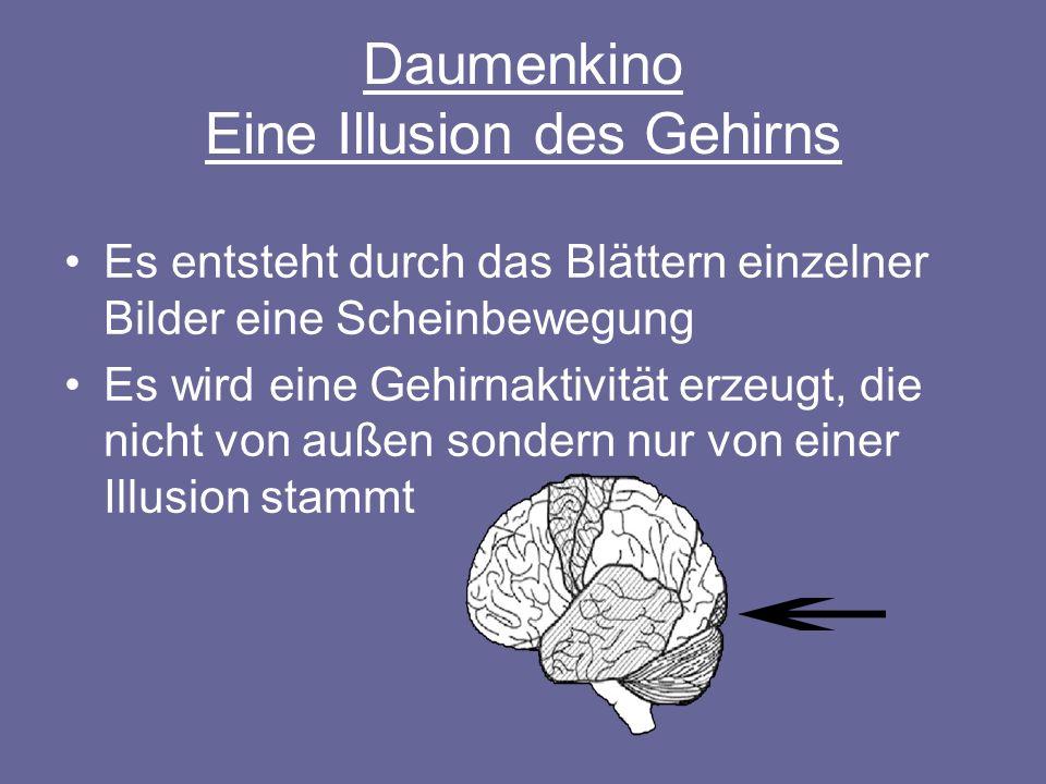 Daumenkino Eine Illusion des Gehirns Es entsteht durch das Blättern einzelner Bilder eine Scheinbewegung Es wird eine Gehirnaktivität erzeugt, die nic
