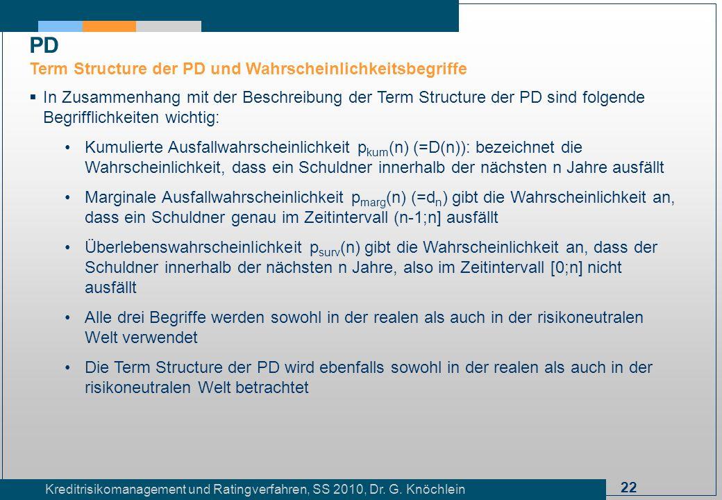 22 Kreditrisikomanagement und Ratingverfahren, SS 2010, Dr. G. Knöchlein In Zusammenhang mit der Beschreibung der Term Structure der PD sind folgende