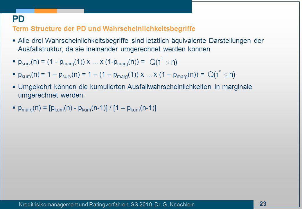 23 Kreditrisikomanagement und Ratingverfahren, SS 2010, Dr. G. Knöchlein Alle drei Wahrscheinlichkeitsbegriffe sind letztlich äquivalente Darstellunge