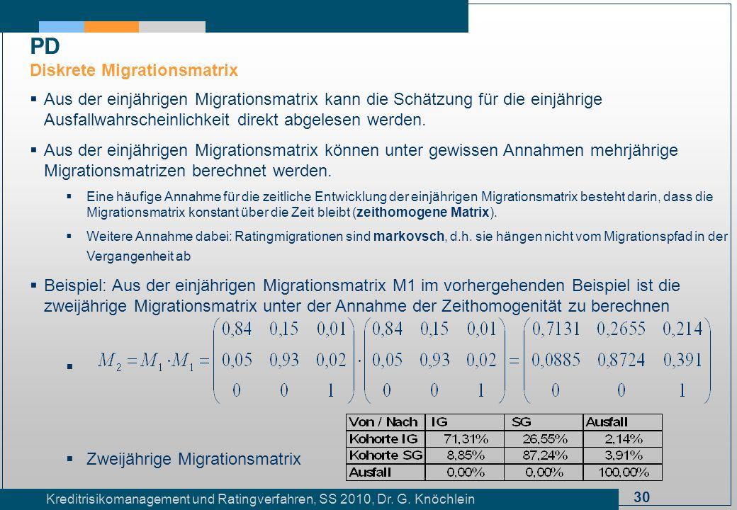 30 Kreditrisikomanagement und Ratingverfahren, SS 2010, Dr. G. Knöchlein Aus der einjährigen Migrationsmatrix kann die Schätzung für die einjährige Au