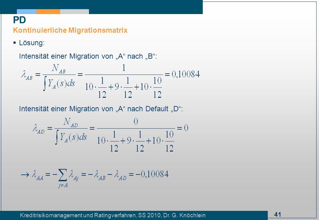 41 Kreditrisikomanagement und Ratingverfahren, SS 2010, Dr. G. Knöchlein Lösung: Intensität einer Migration von A nach B: Intensität einer Migration v