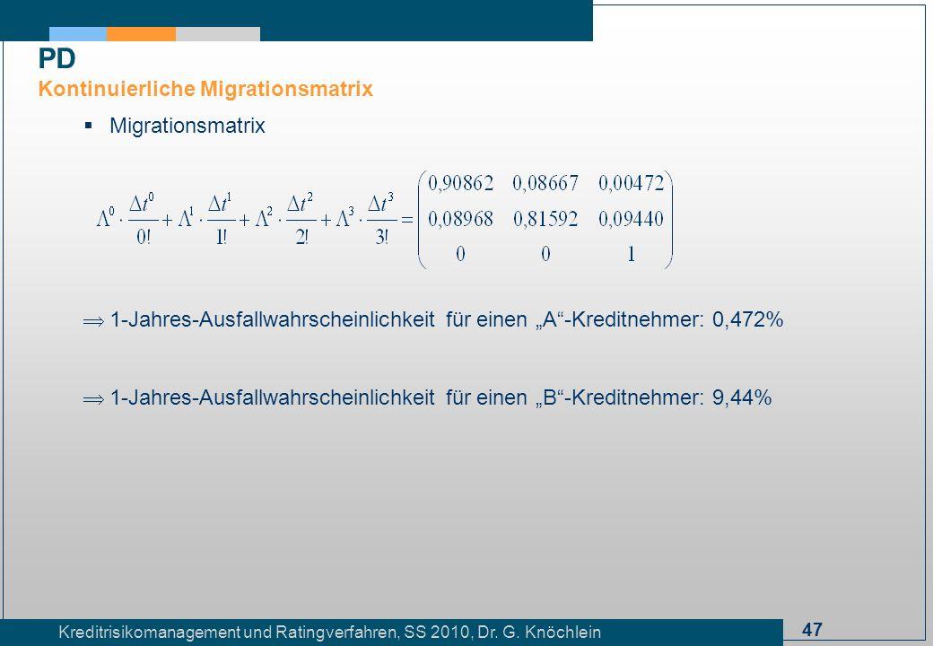 47 Kreditrisikomanagement und Ratingverfahren, SS 2010, Dr. G. Knöchlein Migrationsmatrix 1-Jahres-Ausfallwahrscheinlichkeit für einen A-Kreditnehmer:
