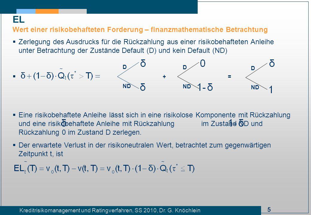 5 Kreditrisikomanagement und Ratingverfahren, SS 2010, Dr. G. Knöchlein Zerlegung des Ausdrucks für die Rückzahlung aus einer risikobehafteten Anleihe