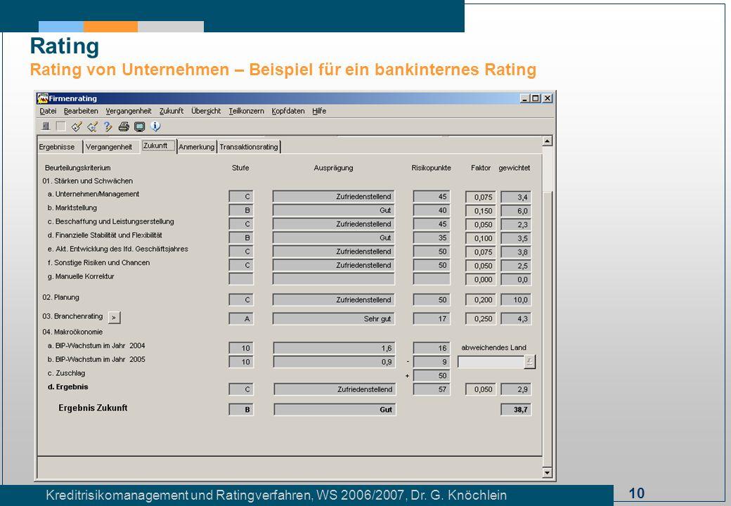 10 Kreditrisikomanagement und Ratingverfahren, WS 2006/2007, Dr. G. Knöchlein Rating Rating von Unternehmen – Beispiel für ein bankinternes Rating