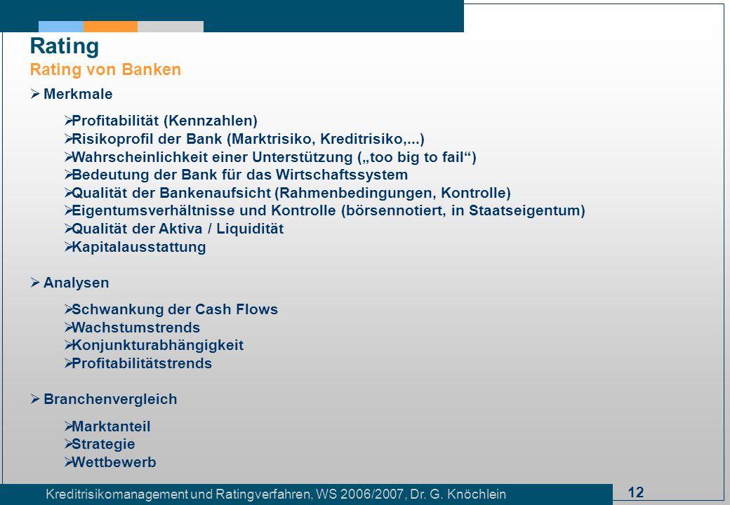 12 Kreditrisikomanagement und Ratingverfahren, WS 2006/2007, Dr. G. Knöchlein Rating Rating von Banken Merkmale Profitabilität (Kennzahlen) Risikoprof