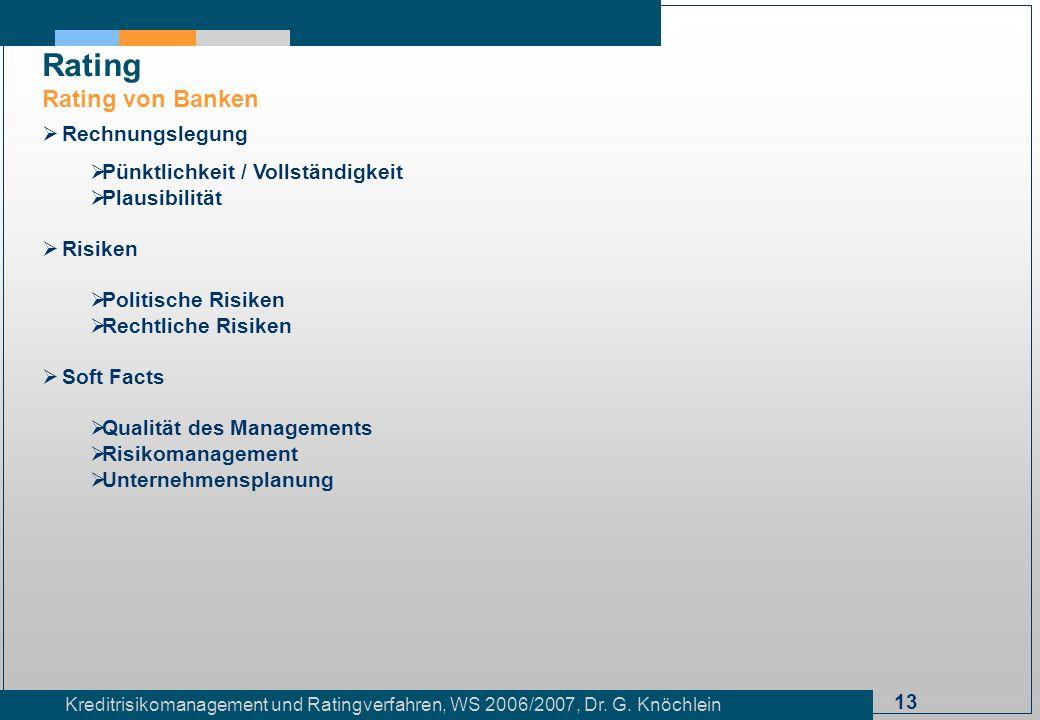 13 Kreditrisikomanagement und Ratingverfahren, WS 2006/2007, Dr. G. Knöchlein Rating Rating von Banken Rechnungslegung Pünktlichkeit / Vollständigkeit