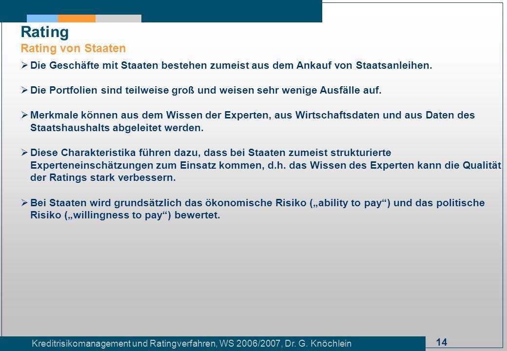 14 Kreditrisikomanagement und Ratingverfahren, WS 2006/2007, Dr. G. Knöchlein Rating Rating von Staaten Die Geschäfte mit Staaten bestehen zumeist aus