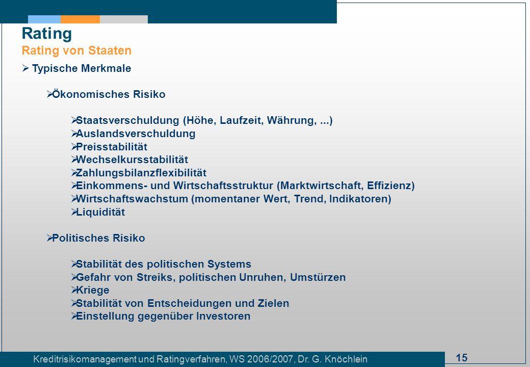 15 Kreditrisikomanagement und Ratingverfahren, WS 2006/2007, Dr. G. Knöchlein Rating Rating von Staaten Typische Merkmale Ökonomisches Risiko Staatsve