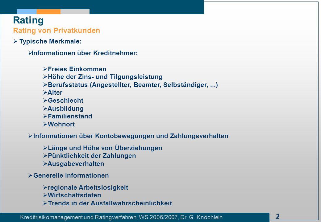 2 Kreditrisikomanagement und Ratingverfahren, WS 2006/2007, Dr. G. Knöchlein Rating Rating von Privatkunden Typische Merkmale: Informationen über Kred