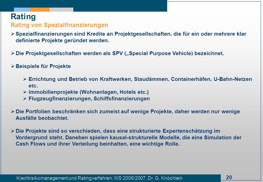 20 Kreditrisikomanagement und Ratingverfahren, WS 2006/2007, Dr. G. Knöchlein Rating Rating von Spezialfinanzierungen Spezialfinanzierungen sind Kredi