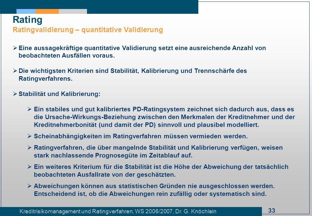 33 Kreditrisikomanagement und Ratingverfahren, WS 2006/2007, Dr. G. Knöchlein Rating Ratingvalidierung – quantitative Validierung Eine aussagekräftige