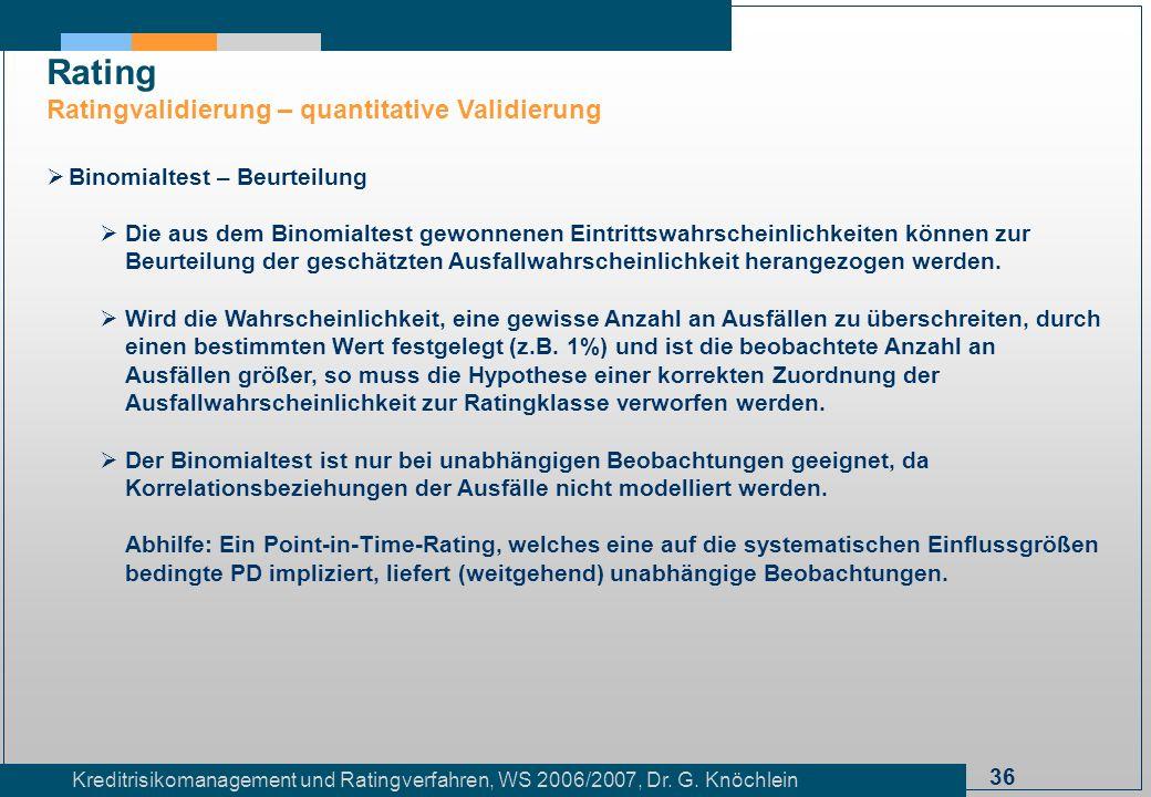 36 Kreditrisikomanagement und Ratingverfahren, WS 2006/2007, Dr. G. Knöchlein Rating Ratingvalidierung – quantitative Validierung Binomialtest – Beurt