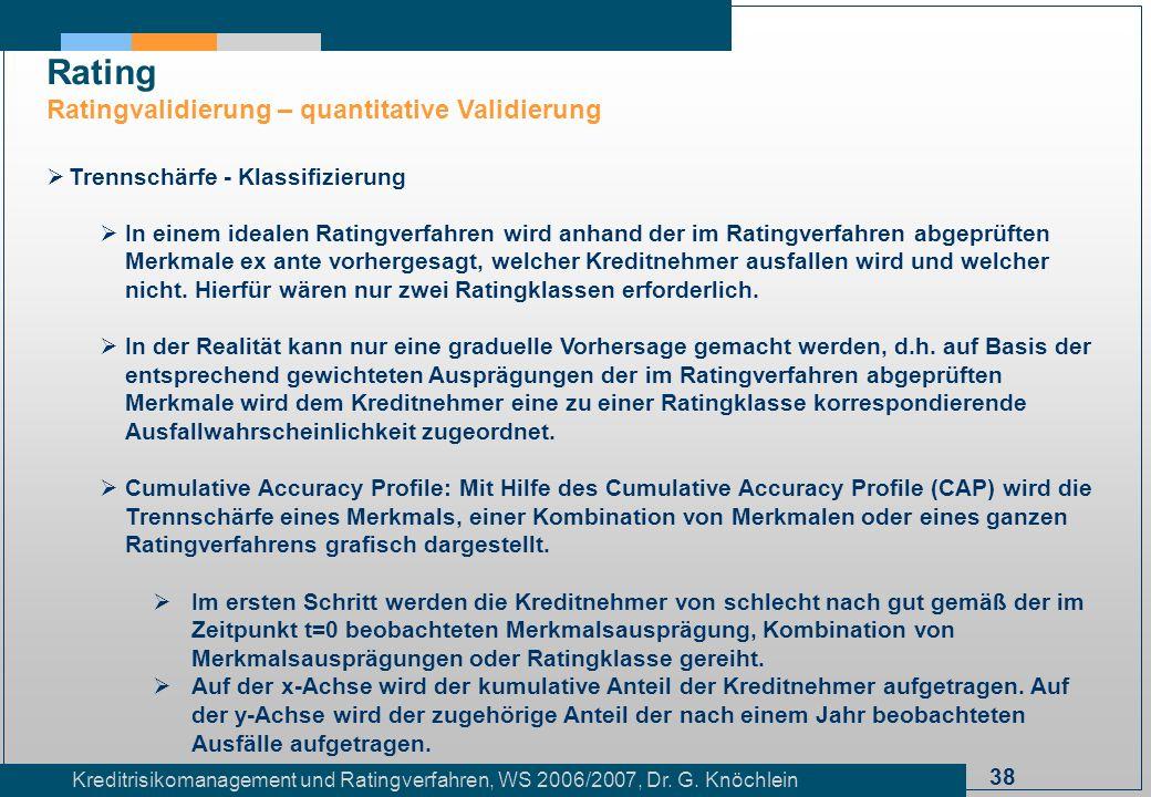 38 Kreditrisikomanagement und Ratingverfahren, WS 2006/2007, Dr. G. Knöchlein Rating Ratingvalidierung – quantitative Validierung Trennschärfe - Klass