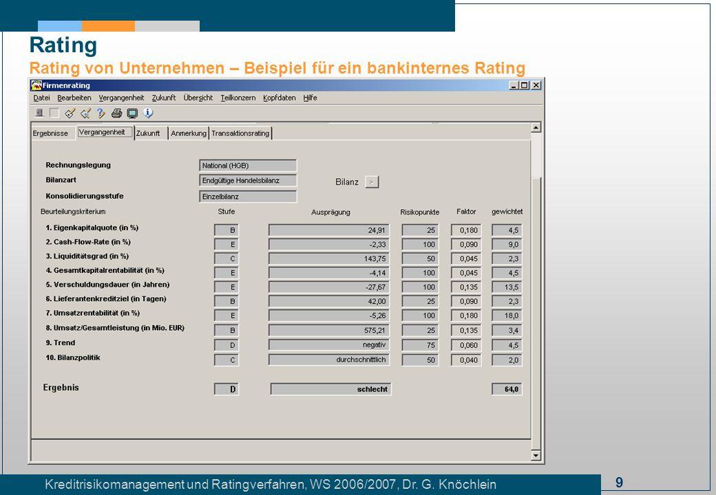 9 Kreditrisikomanagement und Ratingverfahren, WS 2006/2007, Dr. G. Knöchlein Rating Rating von Unternehmen – Beispiel für ein bankinternes Rating