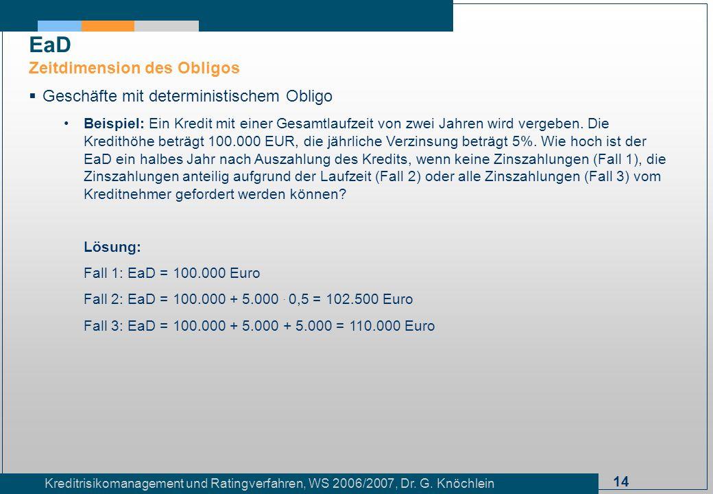 14 Kreditrisikomanagement und Ratingverfahren, WS 2006/2007, Dr. G. Knöchlein Geschäfte mit deterministischem Obligo Beispiel: Ein Kredit mit einer Ge