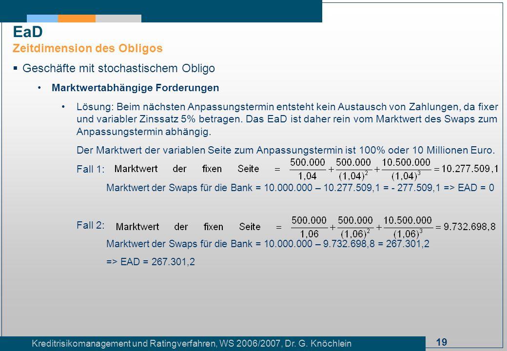 19 Kreditrisikomanagement und Ratingverfahren, WS 2006/2007, Dr. G. Knöchlein Geschäfte mit stochastischem Obligo Marktwertabhängige Forderungen Lösun