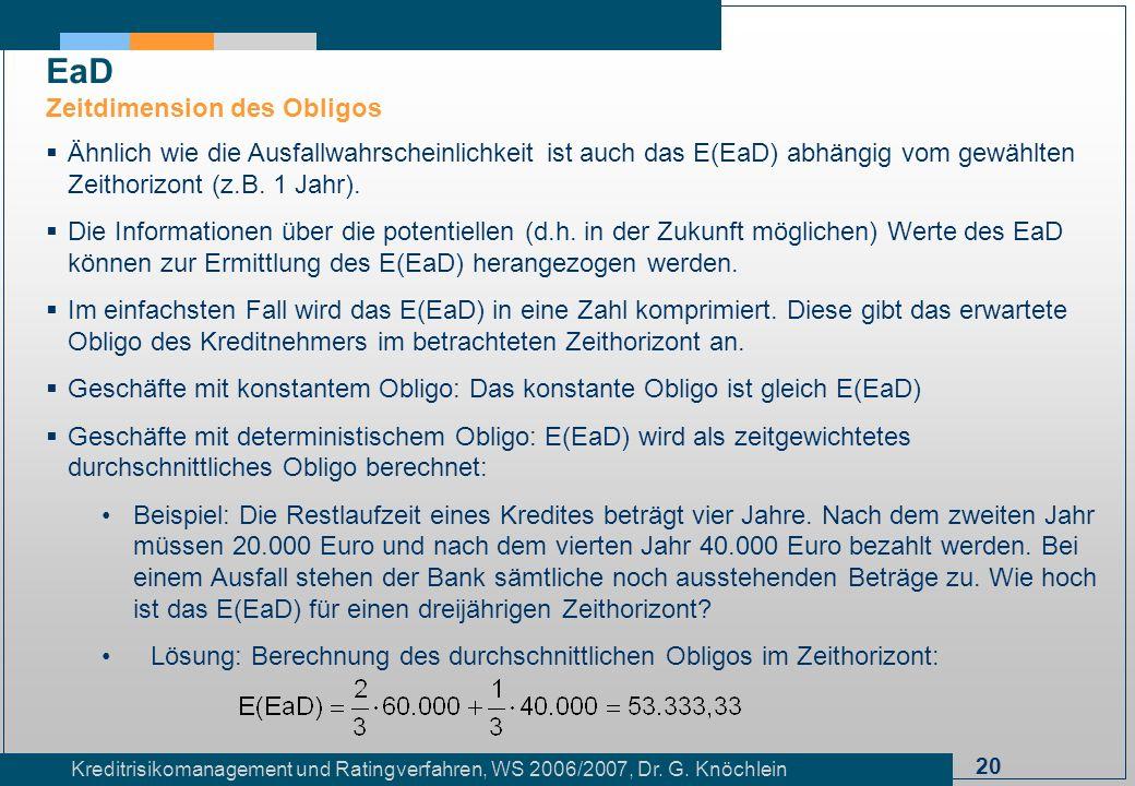 20 Kreditrisikomanagement und Ratingverfahren, WS 2006/2007, Dr. G. Knöchlein Ähnlich wie die Ausfallwahrscheinlichkeit ist auch das E(EaD) abhängig v