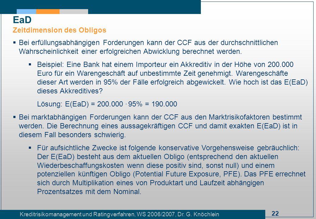 22 Kreditrisikomanagement und Ratingverfahren, WS 2006/2007, Dr. G. Knöchlein Bei erfüllungsabhängigen Forderungen kann der CCF aus der durchschnittli