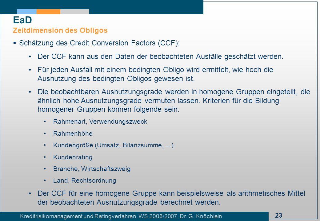 23 Kreditrisikomanagement und Ratingverfahren, WS 2006/2007, Dr. G. Knöchlein Schätzung des Credit Conversion Factors (CCF): Der CCF kann aus den Date