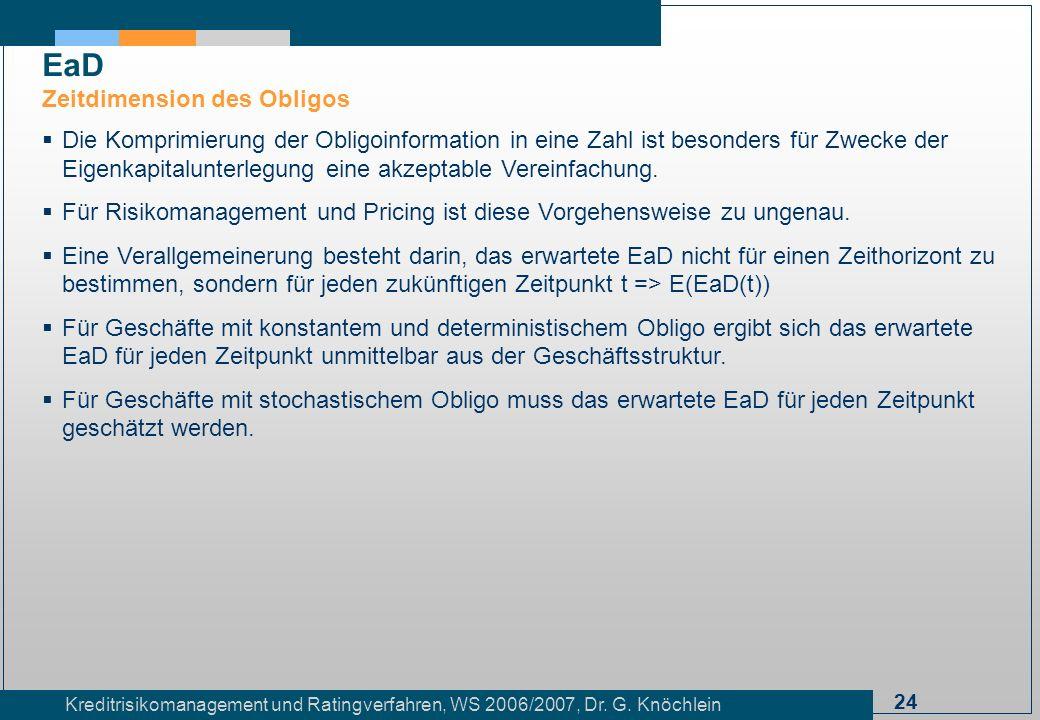 24 Kreditrisikomanagement und Ratingverfahren, WS 2006/2007, Dr. G. Knöchlein Die Komprimierung der Obligoinformation in eine Zahl ist besonders für Z