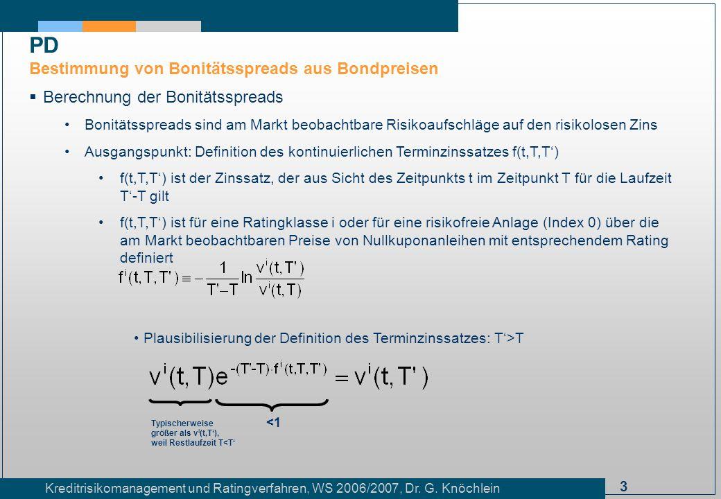3 Kreditrisikomanagement und Ratingverfahren, WS 2006/2007, Dr. G. Knöchlein Berechnung der Bonitätsspreads Bonitätsspreads sind am Markt beobachtbare